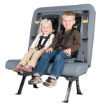 SafeGuard ICS (Integrated Child Seat) is shown with two small children buckled into the five-point harness.